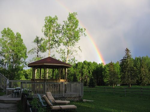 Rainbow over gazebo